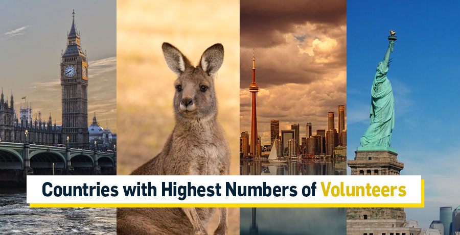 Countries with Highest  Numbers of Volunteers: USA, Canada, Australia, UK, France, and Many More