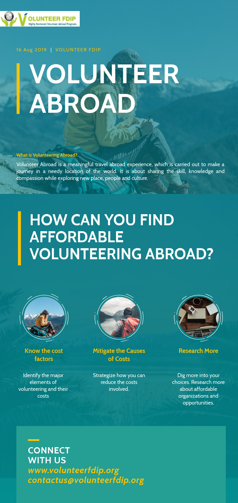 infographic finding affordable and cheap volunteer program